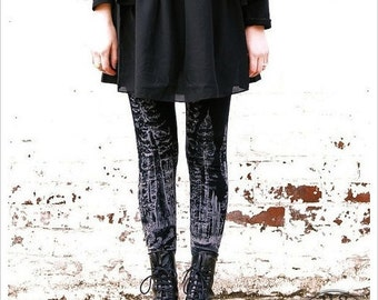BLACK MOON Forest Leggings, Womens printed Leggings, tights, pants, yoga leggings, wearable art leggings, carousel ink
