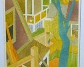 Jerome Rettich Abstract Modern Art Pochoir Painting Print  Inner Court Provincetown Mass Beach