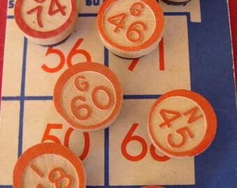Vintage Bingo Number Magnets Set, Red, White, and Blue Bingo Magnets