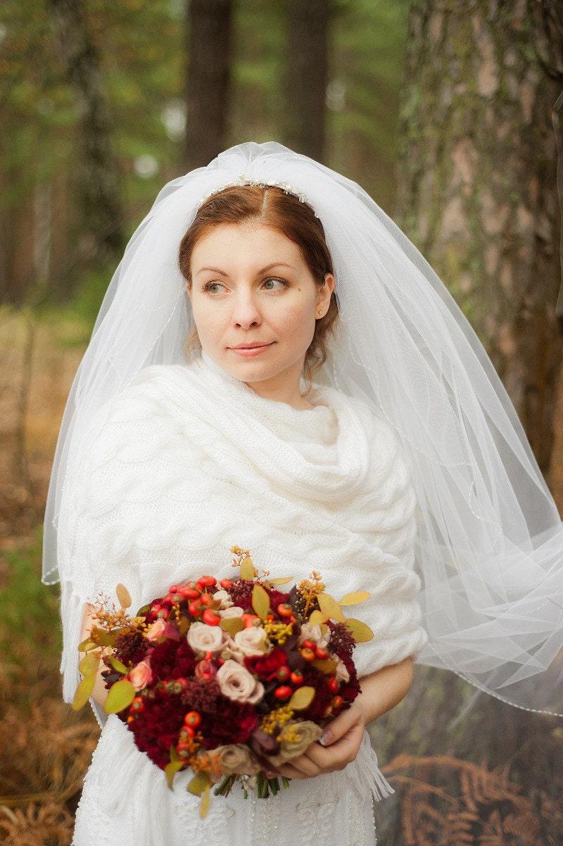 Aran hand knit wedding dress