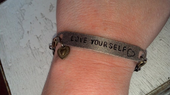 Hand Stamped Metal Bracelets Plus Charm, CUSTOM. Interchangeable Antique Silver & Brass. Fully Personalized For You. Steam Punk, Vintage