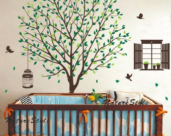 Tree Decal with Flying Birds -Vinyl Wall Decal Wall Sticker,Nature Design