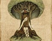 Surreal Fantasy Illustration, Print of Original Pencil Drawing Digital Work - Refuge by Amalia K