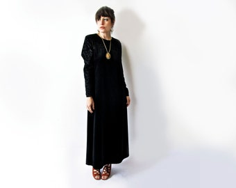 Vintage Diane von Furstenburg Maxi Dress .1980s Black Velvet . Size Medium