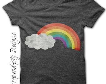 Rainbow Iron on Shirt PDF - Summer Iron on Transfer / Kids Girls Clothing Top / Rainbow Shirt Design / Nursery Printable / Baby Digital IT44