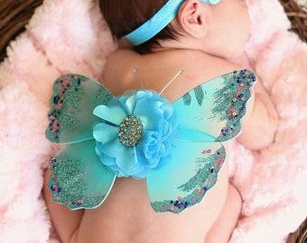 SALE Turquoise Blue Newborn Butterfly Wing Set and Matching Headband, Photo Prop, Glitter Butterfly Wings, Newborn Baby Wings