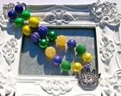 Mardi Gras Mask Glitter Chunky Beaded Bubblegum Necklace New Orleans Photo Prop Purple, Green, Yellow