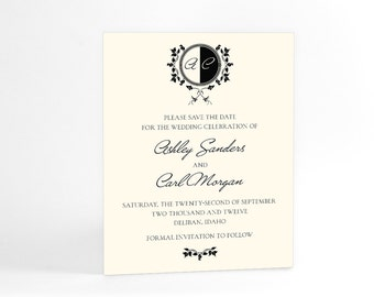 Formal and Elegant Monogram Save the Date Announcements, Custom Wedding Cards, Customized with Your Initals and Your Chosen Colors