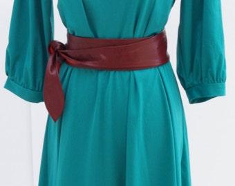Emererald Green Vintage Dress, Green Dress, 80s Vintage Dress