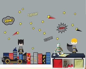 REUSABLE SUPERHERO Wall Decal - Childrens Wall Decal - SK326Swa