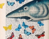 BUTTERFLY FISH, original mixed media print poster acrylic painting