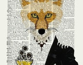 FOX Prince WILLIAM  mixed media Print Poster Wall Decor Illustration Wall Hanging UK Champagne