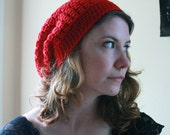 Bright Red 100% Wool Slouchy Bobble Hat