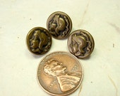 Brass Cameo Buttons, 3 Small 11mm, Minerva the Warrior, Athena, Mythology 3 Matching Antique Buttons
