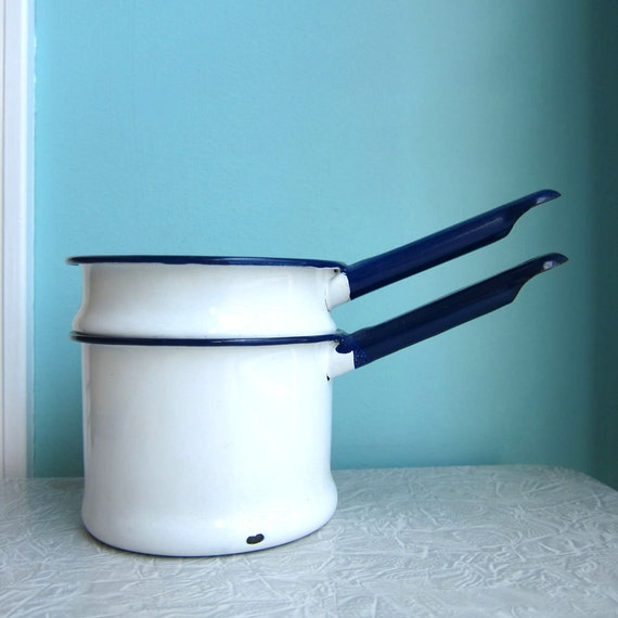 Vintage Toy Enamelware Pots and Pans - Double Boiler - Blue & White