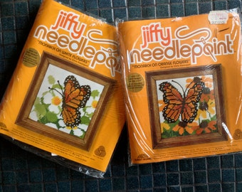 SET of 2 BUTTERFLY Butterflies Vintage Jiffy Needlepoint Kits 1978 1970s Groovy Mod Home Decor Pillow Framed Wall Art