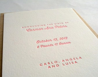 Letterpress Birth Announcements // Customised, set of 50