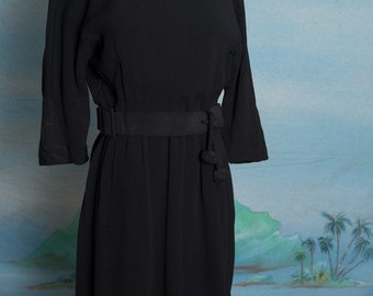 1960s Parnes Feinstein Black Dress with attached belt - small - medium