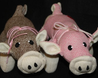 Handcrafted Sock Monkey Pig in brown, pink or blue
