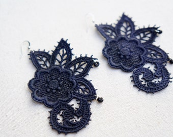 Black Lace Earrings Hand Painted