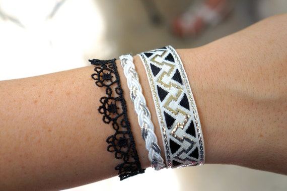 Black and Silver Lace and Fabric Bracelet
