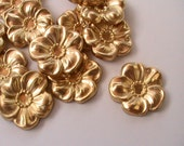 4 pcs Flower Focal Raw Brass Stamping Metal Findings Unplated Brass Raw Jewelry Supplies Collage Assemblage Mixed Media