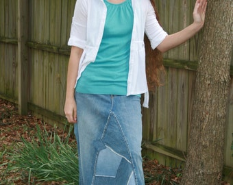 Long Jean Skirt - Patchwork Style