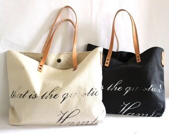SHAKESPEARE.. HAMLET.. vintage black tote bag... PERSONALIZED label