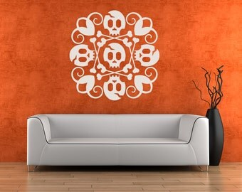 Halloween Decorations, Skull and Crossbones Artwork, Medallion Decal, Ceiling, Holiday Decor, Gothic, Goth, Tim Burton, Skeleton, Swirl Art