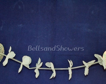 12 Flower & Heart Garland Hanging Pew Bows