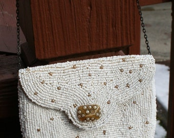 Beaded White 1940s Purse with Mirror