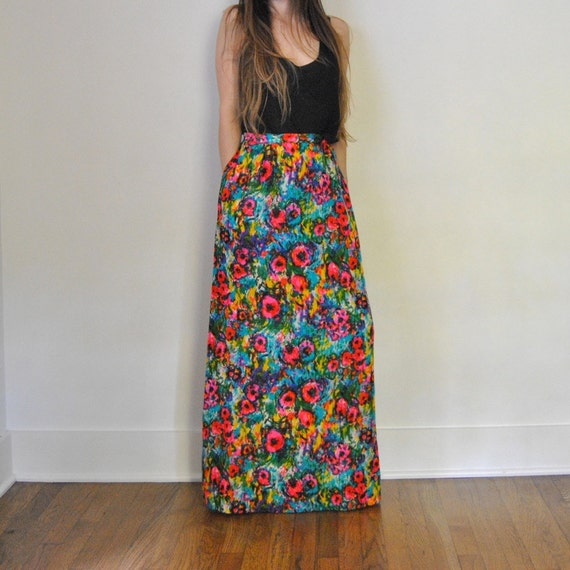 maxi skirt high waisted psychedelic floral by jacknboots