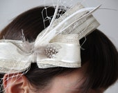 Bridal fascinator -  Ivory Wedding head piece -  wedding headband - cream hair style - birdcage veil and feathers headband