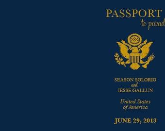 Destination Wedding Passport Style Invitation - RESERVED LISTING
