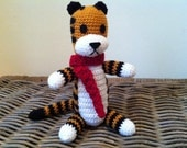 Harold the tiger with red scarf plush doll version crochet amigurumi (inspired by Calvin and Hobbes) plushie stuffie