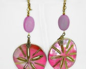 Bright Pink Mother of Pearl Sand Dollar Earrings, Dangle, Fun & Playful, Vintage Re mix