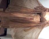 Vintage  60's GOTHAM Bust Ruffle MOCHA Feather Chevron Stripe Nylon Chiffon Nightgown Peignoir Set(cw110)- Size 36