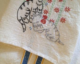 Vintage Cat Tea Towel Cream with Stripes Stevens linen towels Kitten Embroidery Ecru