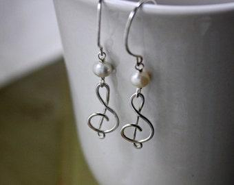 Treble Clef Earrings - Silver Treble Clef - Freshwater Pearl Earrings - Argentium Silver Jewelry - Music Note Earrings - Hypoallergenic