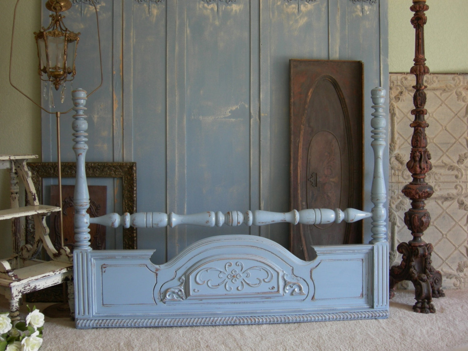 Painted headboard queen or full size bed shabby chic headboard for Painted on headboard
