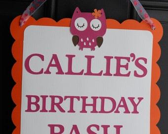 Owl Door Sign, Owl Birthday Sign, Owl Birthday Bash, Orange Hot Pink, Hoot Hoot