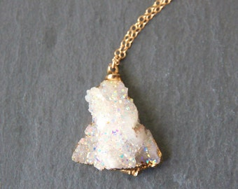 Gold Crystal Necklace 24k Gold Dipped Iridescent Aqua Aura Crystal Druzy Drusy Druse Pendant and 18k Gold Chain Necklace
