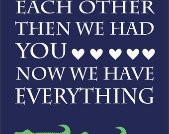 Navy Blue and Green Alligator Nursery Quote Print - 11x14
