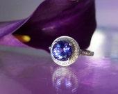Tanzanite Ring  White Gold and Diamonds Royal Purple