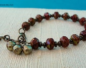 Deep Red and Olive Green Czech Glass and Freshwater Pearl Bracelet