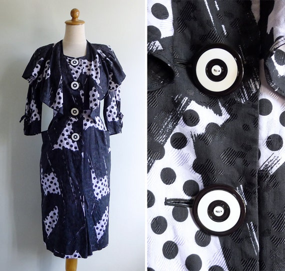 Vintage 80's Does 40's Caped Polka Dot Wiggle Dress S or M