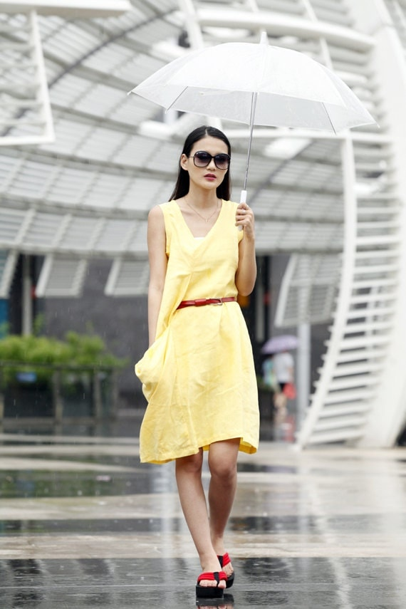 Cute Sundress Single Big Pocket Summer Dress in Yellow  - NC037