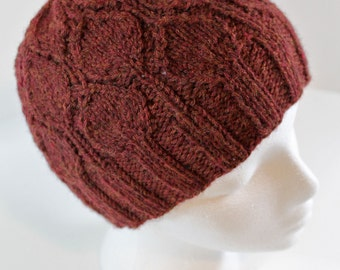 Maroon Leaf Knit Hat: ready to ship