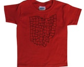 Youth and Toddler Tee - 'Ohio Counties' in Black on Red Tee