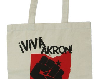 Viva Akron - Natural Canvas Tote (in Red and Black Ink)